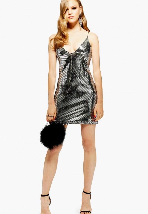 женское вечерние платье topshop, серебряное