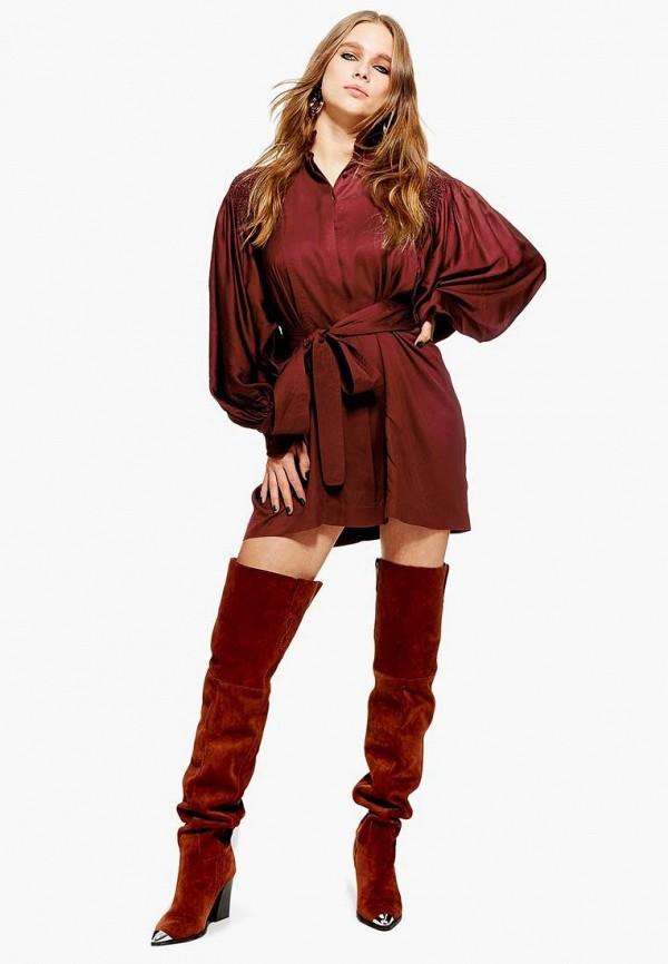 женское повседневные платье topshop, бордовое