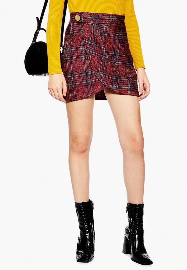 женская прямые юбка topshop, красная