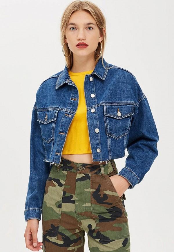 женская джинсовые куртка topshop, синяя