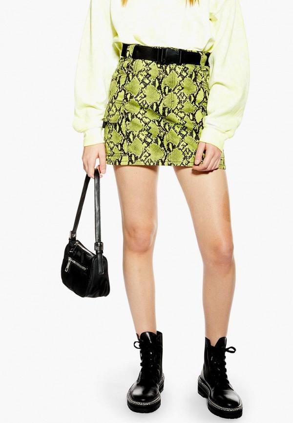 женская прямые юбка topshop, зеленая