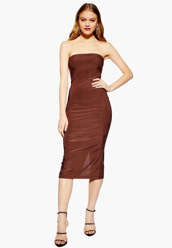женское вечерние платье topshop, коричневое