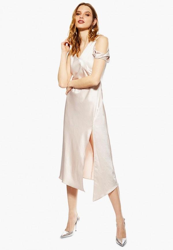 женское вечерние платье topshop, бежевое