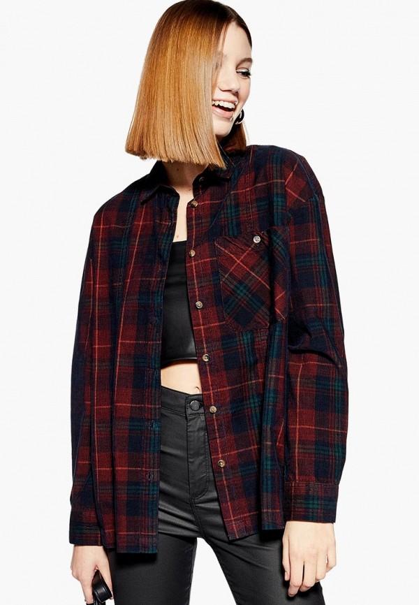 женская рубашка с длинным рукавом topshop, бордовая