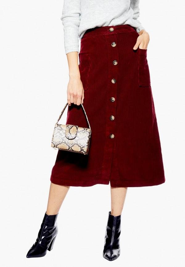женская юбка topshop, бордовая