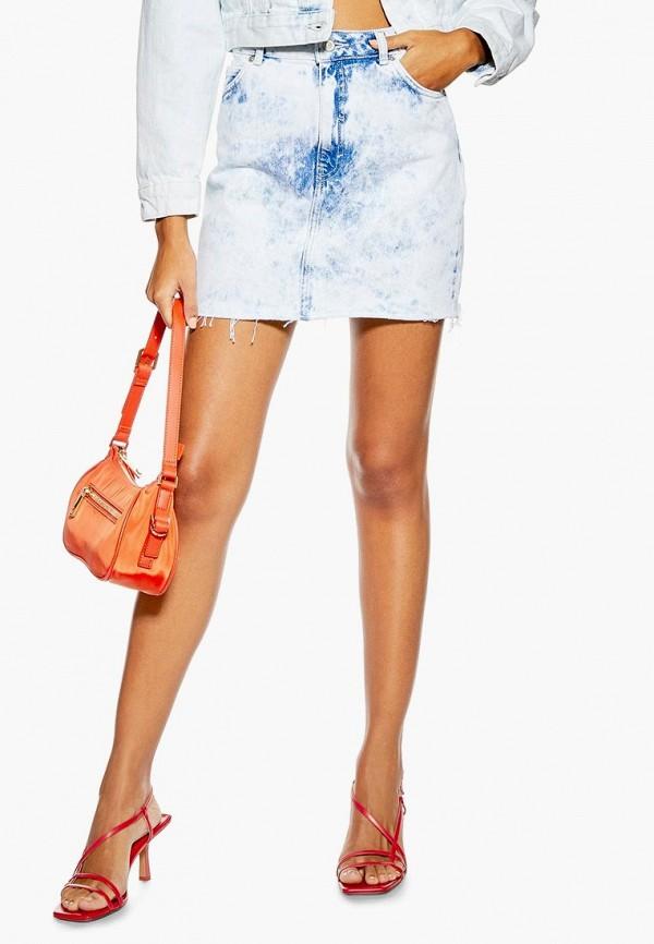 женская джинсовые юбка topshop, голубая