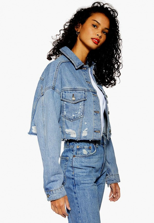 женская джинсовые куртка topshop, голубая