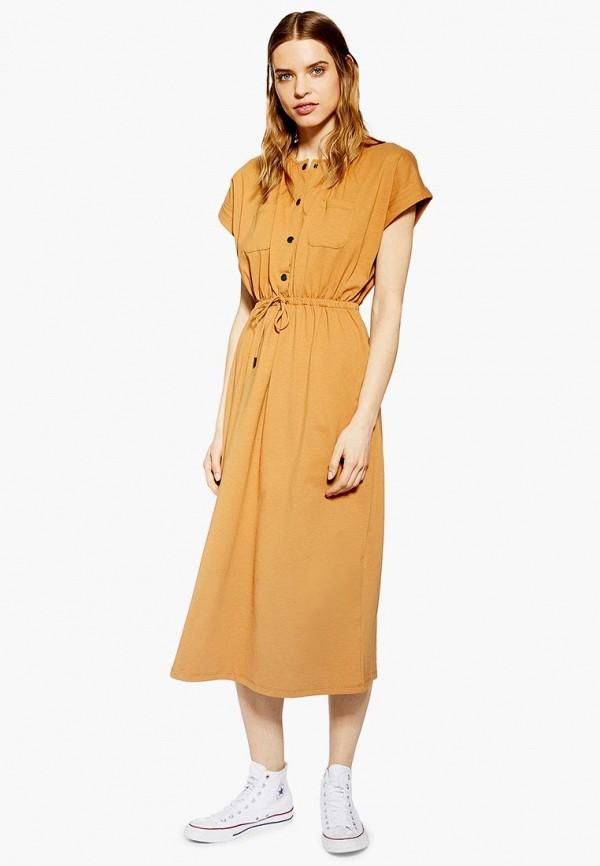 женское повседневные платье topshop, желтое