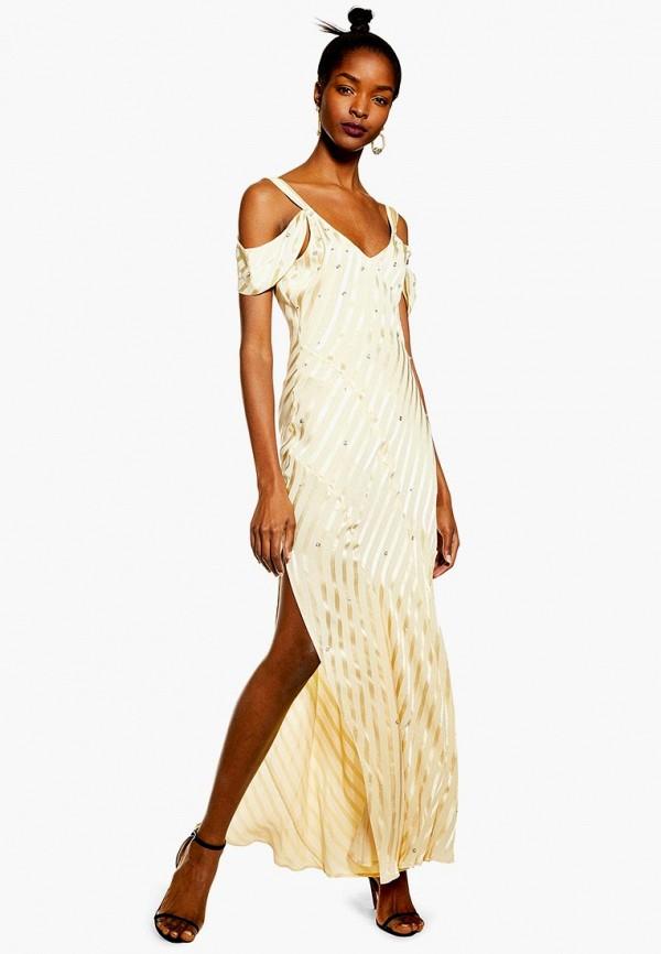 женское вечерние платье topshop, желтое
