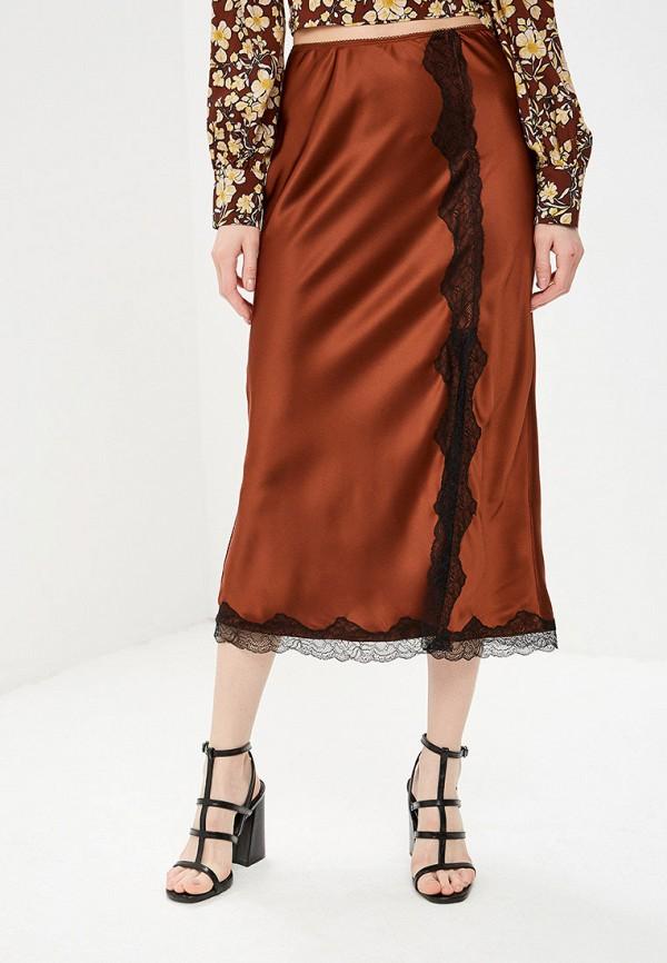 женская прямые юбка topshop, коричневая