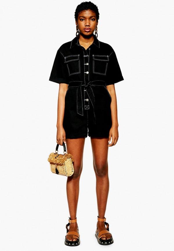 женский джинсовые комбинезон topshop, черный