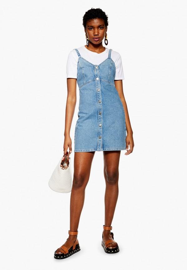 цена Платье джинсовое Topshop Topshop TO029EWFJXA0 онлайн в 2017 году