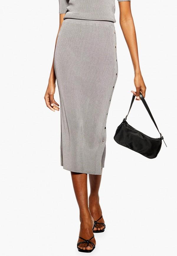 женская зауженные юбка topshop, серебряная
