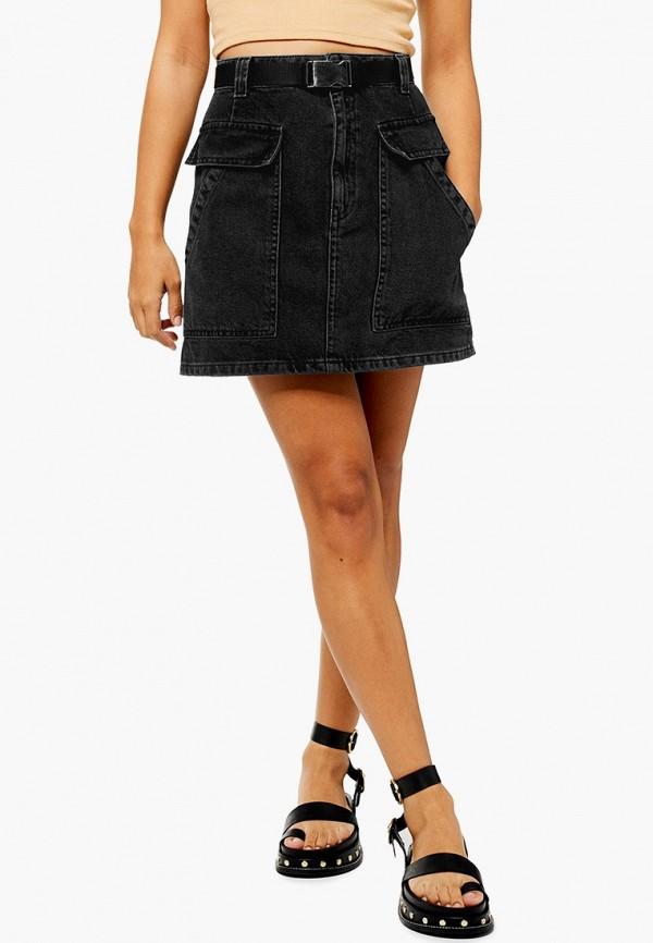 женская джинсовые юбка topshop, черная