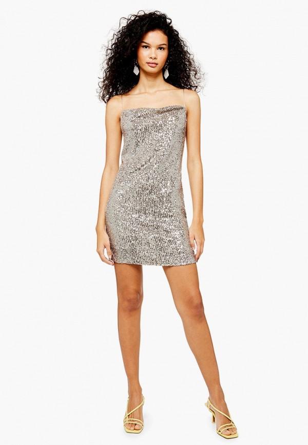 женское платье topshop, серебряное