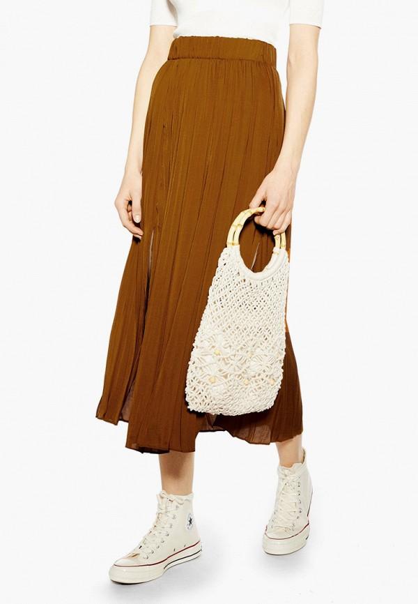 женская юбка topshop, коричневая