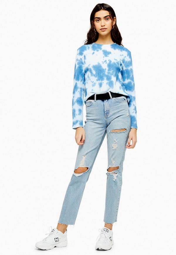 Фото 4 - женские джинсы Topshop голубого цвета