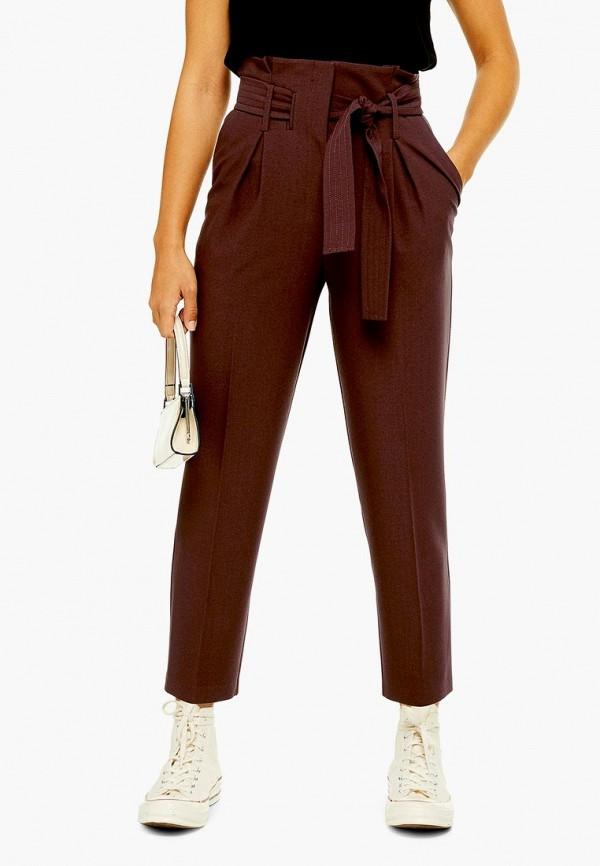 женские повседневные брюки topshop, коричневые