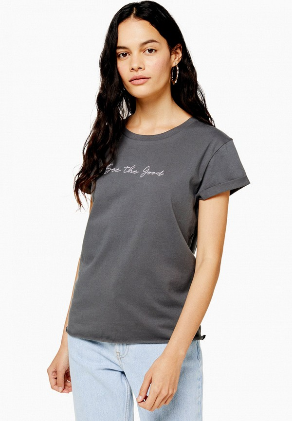 женская футболка topshop, серая