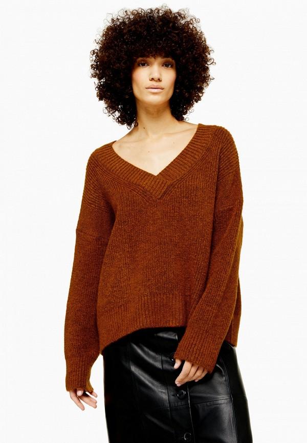 женский пуловер topshop, коричневый