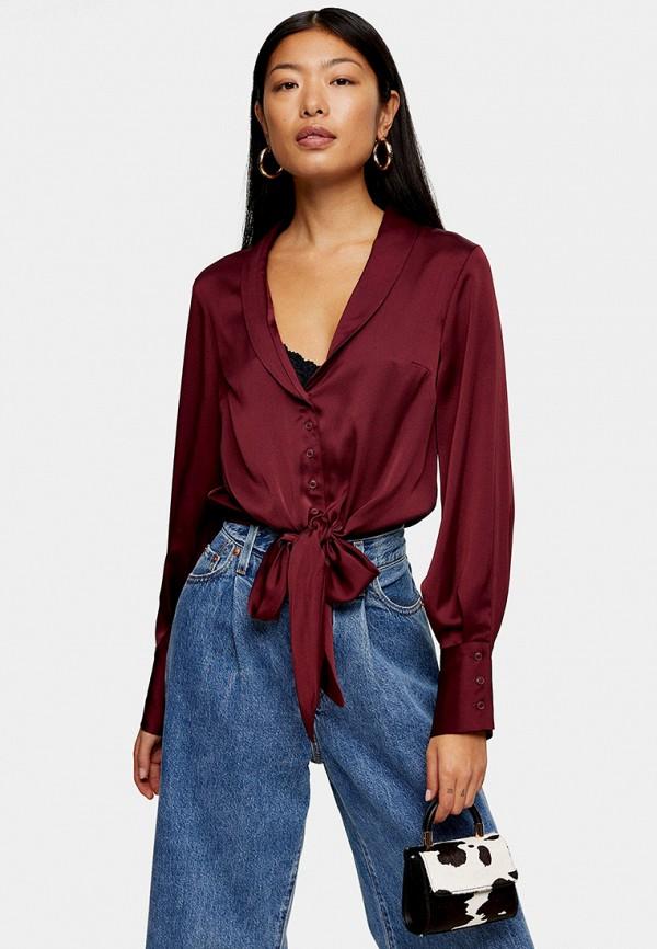 женская блузка topshop, бордовая