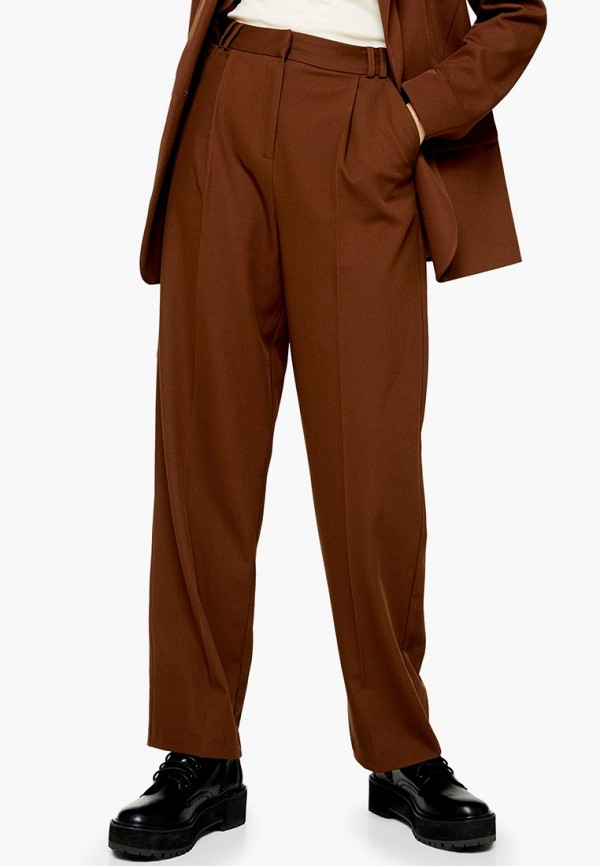 женские классические брюки topshop, коричневые
