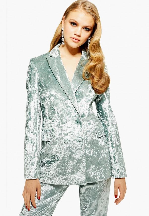 женский пиджак topshop, бирюзовый