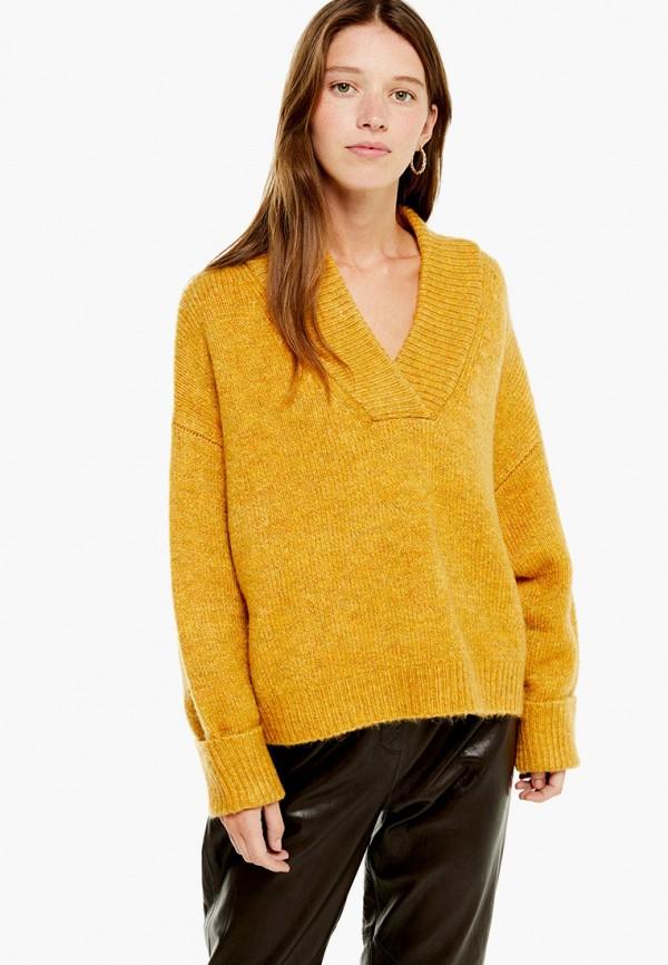 женский пуловер topshop, желтый