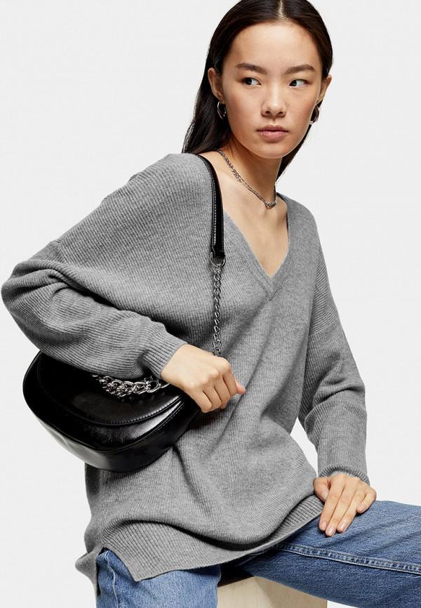 женский пуловер topshop, серый