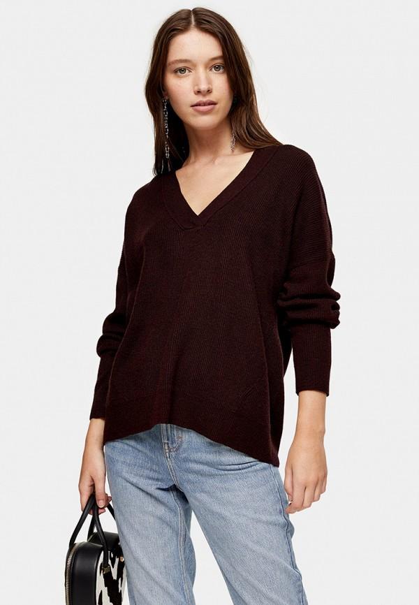 женский пуловер topshop, бордовый