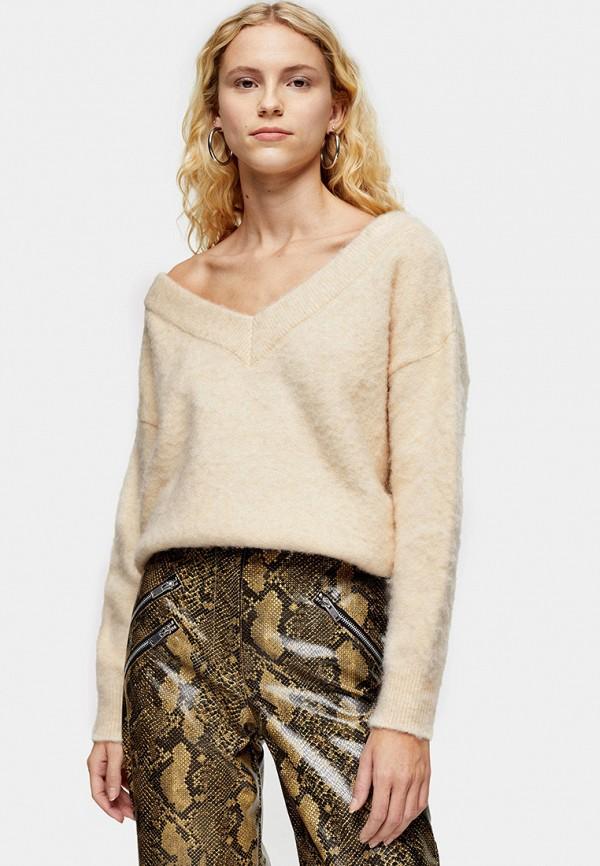 женский пуловер topshop, бежевый