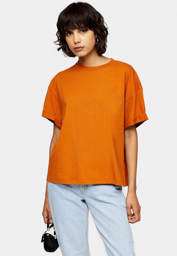 женская футболка topshop, оранжевая
