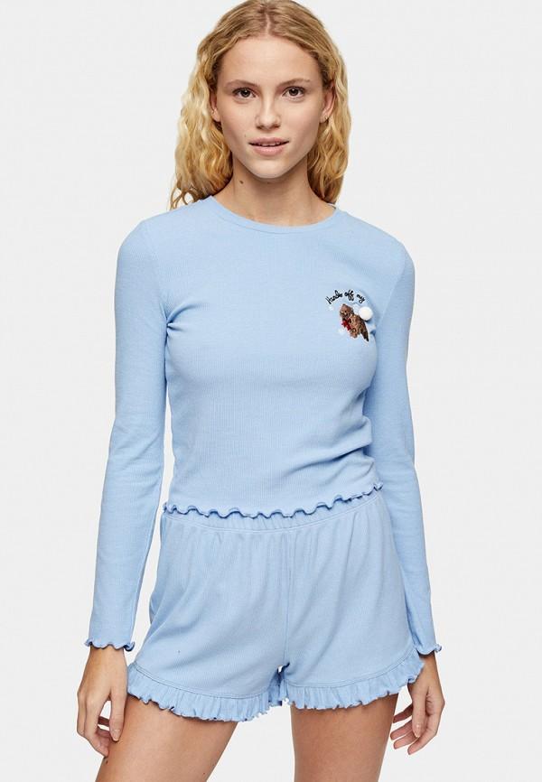женская пижама topshop, голубая