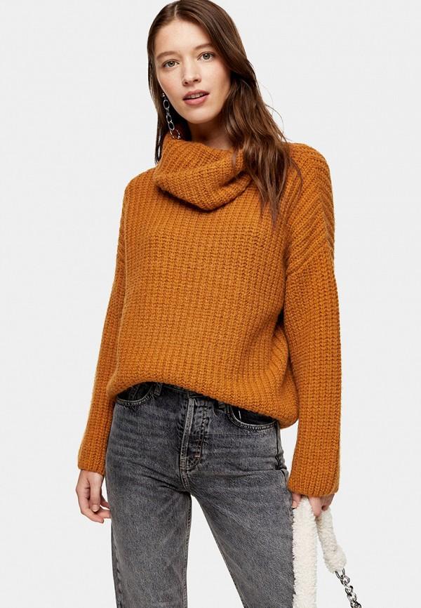 женский свитер topshop, коричневый