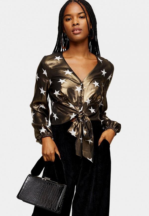 женская блузка topshop, коричневая