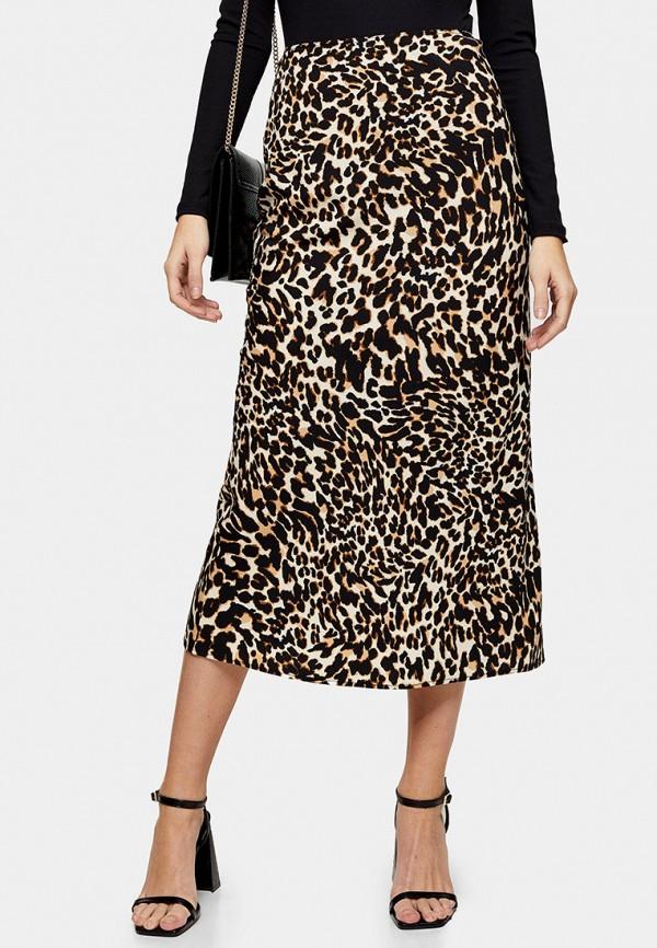 женская прямые юбка topshop, бежевая