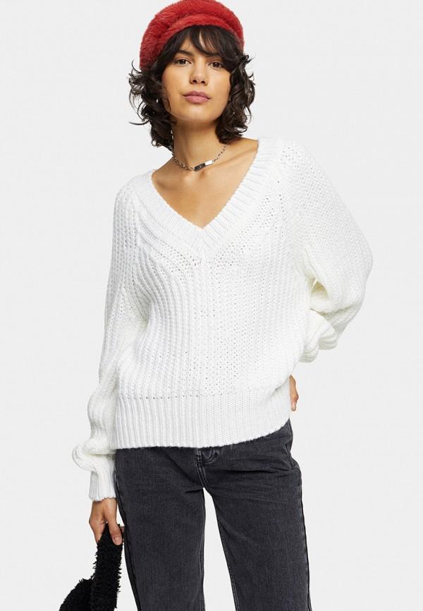 женский пуловер topshop, белый