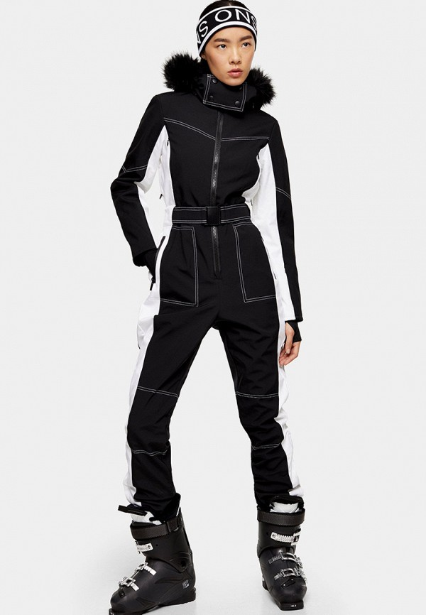 женский спортивные комбинезон topshop, черный