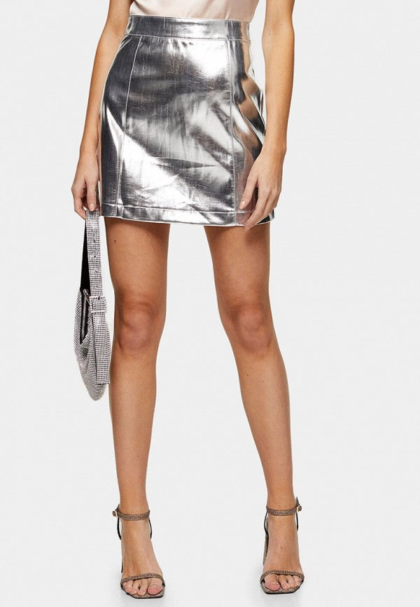 женская юбка topshop, серебряная