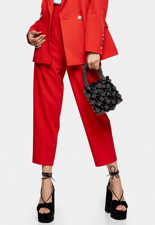 женские классические брюки topshop, красные
