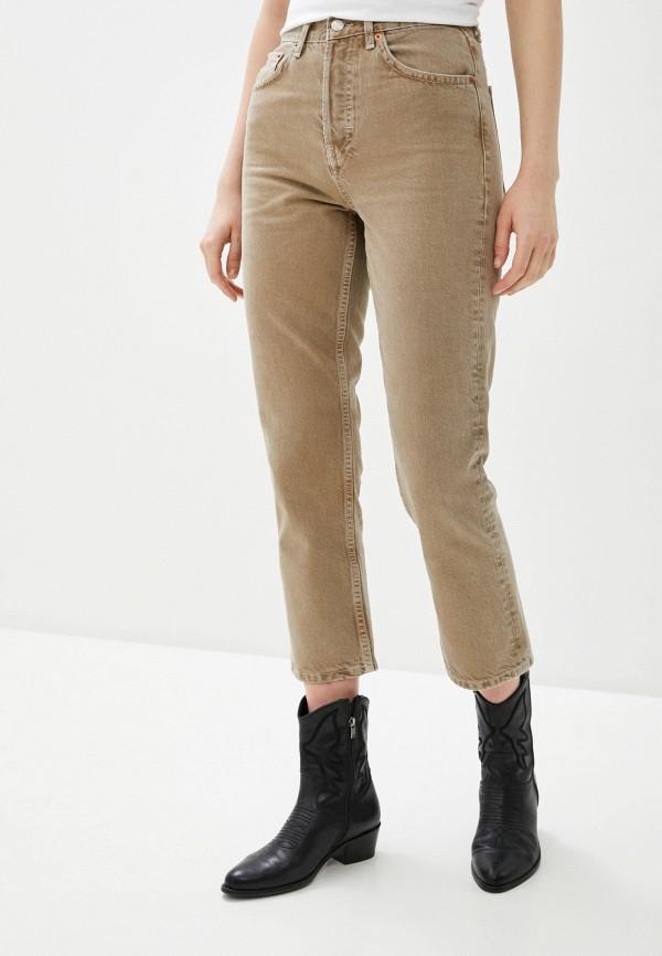женские прямые джинсы topshop, бежевые