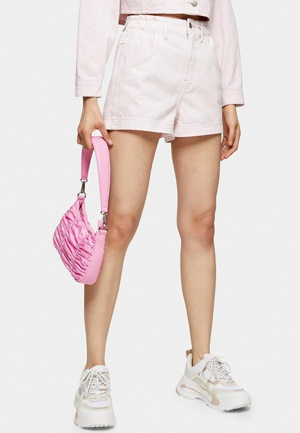 женские джинсовые шорты topshop, розовые