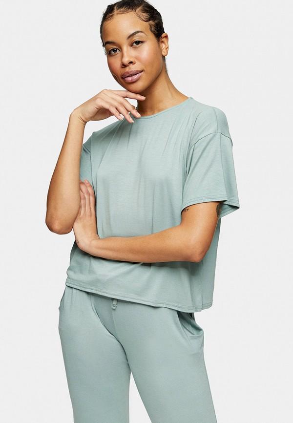 женская футболка topshop, голубая