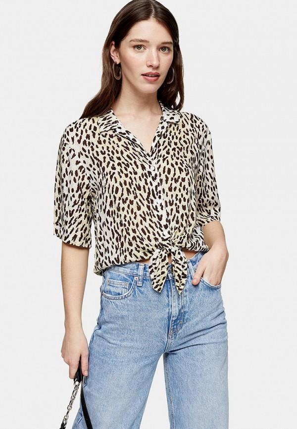 женская рубашка с коротким рукавом topshop, бежевая