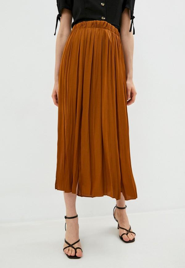 женская юбка-трапеции topshop, коричневая