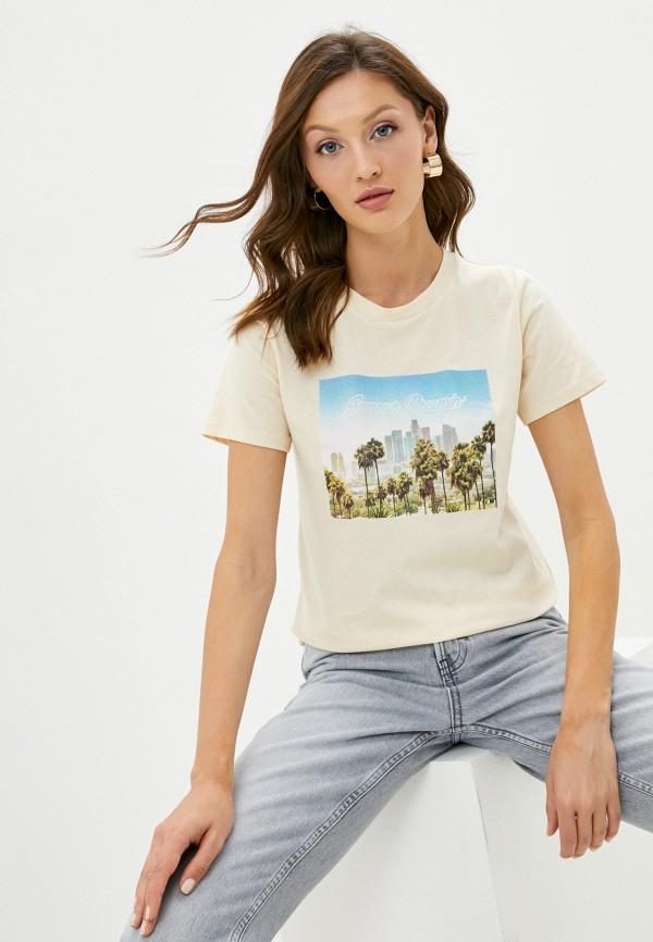 женская футболка topshop, бежевая