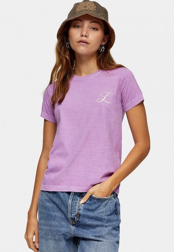 женская футболка topshop, фиолетовая