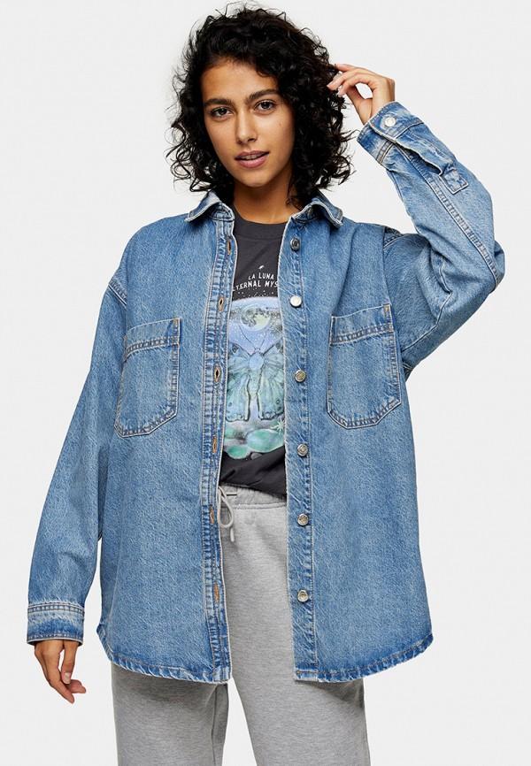 женская джинсовые рубашка topshop, синяя
