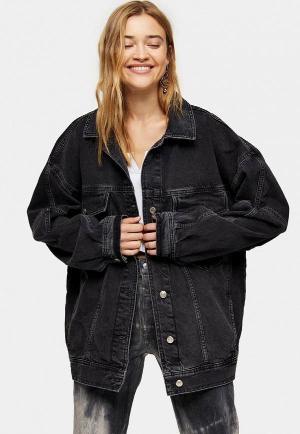 женская джинсовые куртка topshop, черная