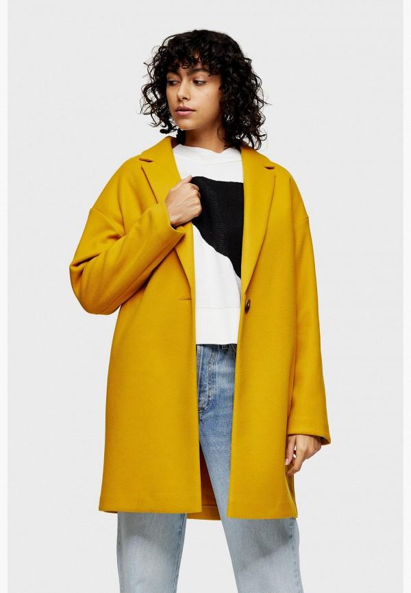 женское пальто topshop, желтое
